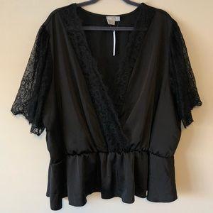 NWT ASOS Curve Black Lace-Sleeve Blouse